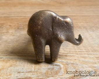 Antique Bronze or Custom Color Cast Iron Elephant Knob - Baby Elephant Drawer Pull - Zoo Animal Theme - Nursery decor