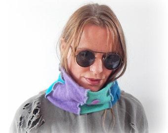 Cosy Scarf, Cashmere Neckwarmer, Purple Green Neck Warmer, Upcycled Beanie, Headband, Soft Tube Scarf, Recycled Cowl, Eco Earmuff, Hair Wrap