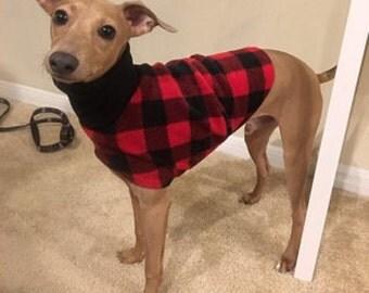 Italian Greyhound Clothing. Lumber Jack Jacket. Italian Greyhound Coat. Dog Clothing. Pet Clothing. Small dog clothes. Dog Jacket. Dog coat.