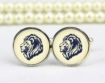lion cuff links, lion cufflinks, tie clips, lion head cufflinks, lion head cuff links, custom any logo, personalized cufflinks, wedding gift