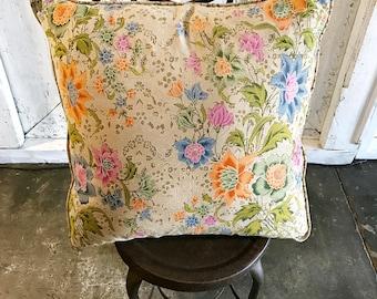 Vintage Batik and Velvet Cushion