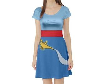 Genie Aladdin Inspired Short Sleeve Skater Dress