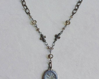 Hand wired crosses & topaz crystal with rustic dharma wheel pendant