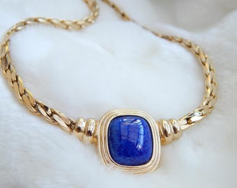 christian dior necklace in lapis blue - designer jewelry