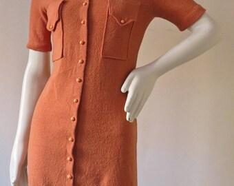 Authentic Vintage 1960s Cotton Knit Mini Dress
