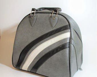 Gray Bowling Ball Bag with Black and White Accents