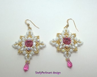 Earrings Imperia - made with Superduos, Swarovski, Czech beads, seed beads