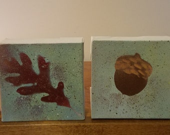 Fall Foursome, Spray Painted on Small Canvas, 4X4, Set of 4