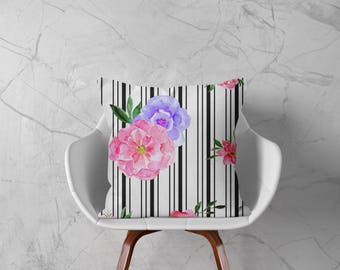 Pink and Purple Roses, Black and White Stripes, Pillow Cover, Housewarming Gift, Home Decor