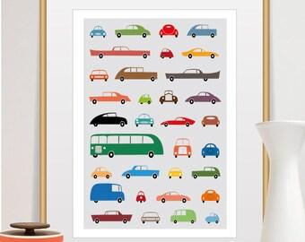 car poster, car art, retro wall art, car print, car nursery, baby room print, retro poster, nursery printable, baby wall art,baby room décor