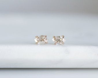 Herkimer Diamond Earrings 14K Gold Filled Sterling Silver / Delicate Dainty, Everyday Earrings / Tiny Precious Stone