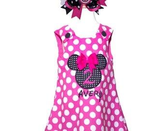 Girl Minnie birthday dress  Minnie birthday dress, baby A line dress applique Aline dress  Minnie Pink dress toddler a line dress girl dress