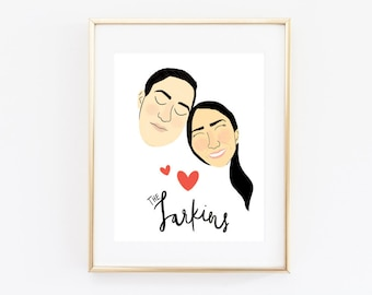 Custom Couple Portrait, Illustrated Couple Portrait, Anniversary Gift, Valentine's Day Gift