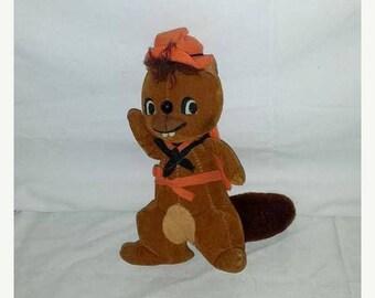 Vintage Dream Pets Beaver Plushie, Dream Pets, Beaver, Saw Dust Pet, Japan, Stuffed Beaver, 1960s, Dakin, Cloth Tag Intact, MOD, MCM