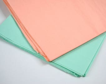 Tissue Paper, Mint and Peach, Party Decorations, Mint Green, Peach, Wedding Decor, Birthday, Wrapping Paper, Packaging, 48 Sheets
