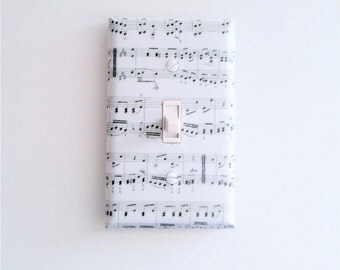 Music room decor - Music notes light switch cover - Black and white - Music wall art - Music wall decor - Sheet music - Music lover gift