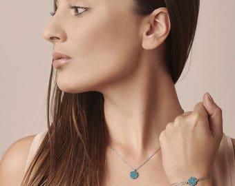 Circle Turquoise Necklace Bracelet - Silver Round Pendant - Blue Natural Stone Necklace - Double Chain Bracelet - Geometric Jewelry Set