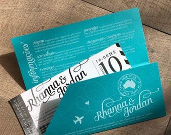 Modern Metallic Boarding Pass Travel Theme Wedding Invitation set- Custom colors and foils available