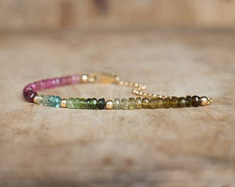 Watermelon Tourmaline Bracelet, Multi Tourmaline Jewellery, October Birthstone, Ombre Pink Green Blue Tourmaline Bracelet, Gemstone Jewelry