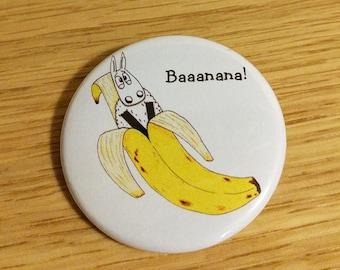 Funny badge, Baaanana!, button badge, sheep gifts, punny badge, banana badge, animal puns, sheep badge, punny gift, fruit puns, cute badge,