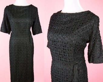 Vintage 50s, Black Cocktail Dress, 1950s Mad Men Style, 1960s Retro, 60s Wiggle, Womens Medium, Large