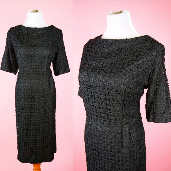 Vintage 50s, Black Cocktail Dress, 1950s Mad Men Style, 1960s Retro, 60s Wiggle, Womens Medium, Large