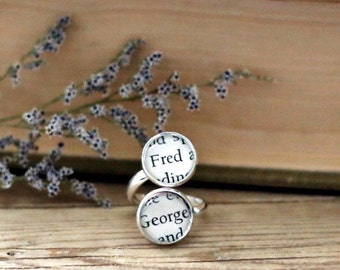 Fred and George double book page ring. Fandom book page ring. Book Page Jewelry. Statement ring
