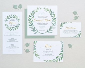 Printable Wedding Invitation Template Watercolor Wreath Wedding Invitation Set DIY Wedding Cards Watercolor Leaf Modern Calligraphy G1