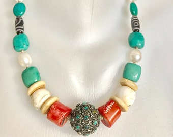 Tibetan necklace, Turquoise necklace, Chunky  necklace,