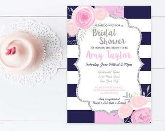 Navy & White Stripe Flower Bridal Shower Invitation, Bridal Shower Pink Floral Invite, 4x6 or 5x7- Printable, Digital File