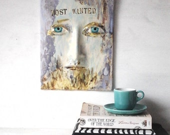 Most Wanted wall art quote, ceramic face wall sculpture, outlaw decor, 3D art tile male birthday gift, male art lover gift abstract face art