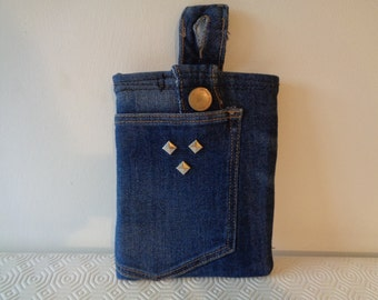Kindle e-reader sleeve. Tech case made from reworked recycled denim jeans. Unique gift OOAK. Keeps device secure and makes travelling easy.