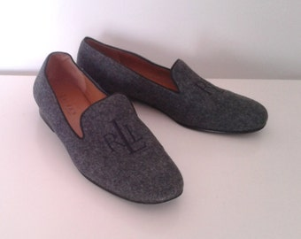 Vintage Ralph Lauren Charcoal Grey Wool Loafers Moccasins Embroidered Logo Sz 7 1/2 Traditional WASP Preppy