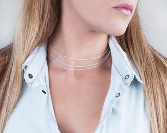 Sterling Silver Choker Necklace, Layered Choker Necklace, Gold Filled Necklace, Rope Necklace Chain, Collar Necklace, Gold Necklace Chain
