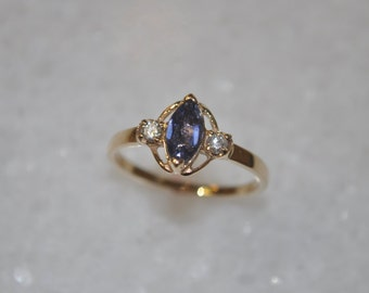 SALE Tanzanite and Diamond Ladies Ring hand made in 14K Yellow Gold in size 6.5