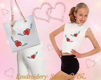 """Machine embroidery design """" Heart with wings"""" - heart embroidery - machine embroidery - heart - Valentine's Day"""