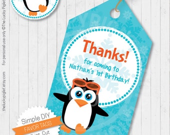 PENGUIN FAVOR TAGS, Penguin Gift Tags, Thank You Tags, Birthday Party Favor - Instant Download, You Edit Text in Adobe Reader, Print and Cut