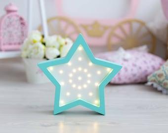 Nightlight Star Light Star lamp Night light Kids lamp Wooden star Nightlight Marquee Star Battery Operated Light Marquee lamp Star nursery