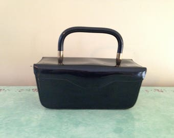 Vintage 1960's Jana Black Patent Molded Rectangular Box Purse Handbag, Black Patent Handle Box Purse, Black Evening Bag