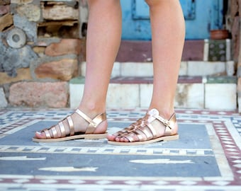 Leather sandals, Women sandals, Greek sandals, Gladiator sandals, Handmade sandals for women, Rose gold sandals, Summer shoes, Roman sandals