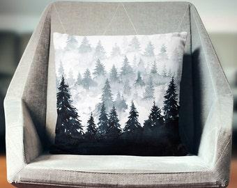 Watercolor Pillow | Black Pillow | Watercolor Throw Pillow | Mountain Decor | Watercolor Decor | Watercolor Pillow Cover | Mountain Pillow