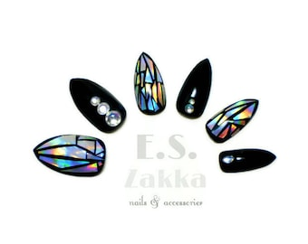 Holographic Luxury Nails / Fake nails, glue on nails, press on nails, nail art, gift women, jewelry, party, stiletto nails, wedding, rainbow