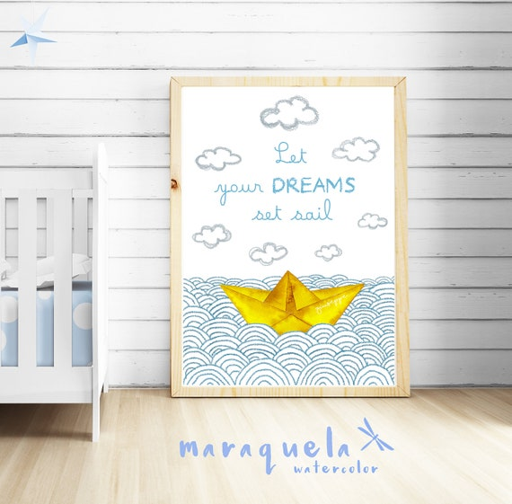 CUSTOM yellow Paper Boat WAVES baby illustration with personalized name and quote.Customized Newborns.Let your dreams set sail.Child's room