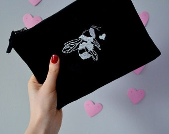 Valentine bee embroidered make-up, accessory,purse bag