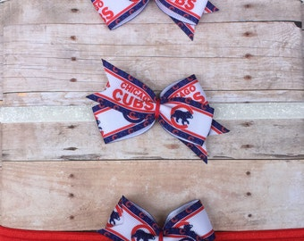 Chicago Cubs Hair Bow // Baby Headband // Toddler Clip // Baseball // MLB // Go Cubs Go! // Cubbies Hair Bow // Cubs Headband // Fly the W