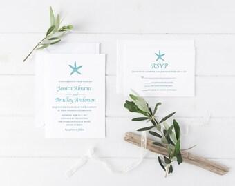 Beach Wedding Invitation, Starfish Wedding Invitation, Destination Wedding Invitation, Beach Wedding Invite, Printable Wedding Invitation