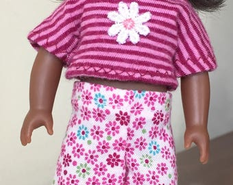 "6"" mini doll clothes: clam-digger shorts and striped crop top"