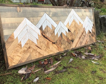 Five Rustic Wood Mountains Wall Art - Large