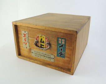 Japanese Vintage Wooden  First Aid Kit Box, with metal plates