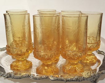 Madeira Cornsilk Yellow Goblets in Original Box Set of 8 Yellow Iced Tea Glasses